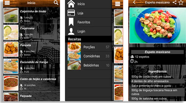 telas do app receitas de boteco