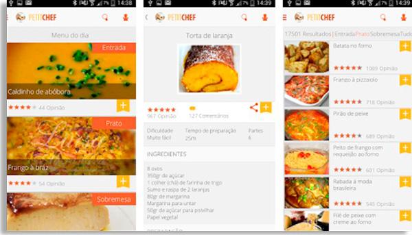 tela inicial do app petit chef