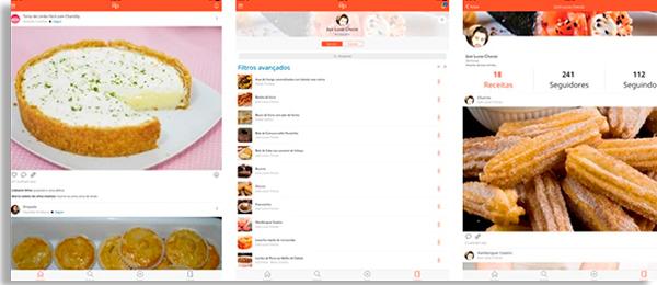 tela inicial do app grátis pip receitas