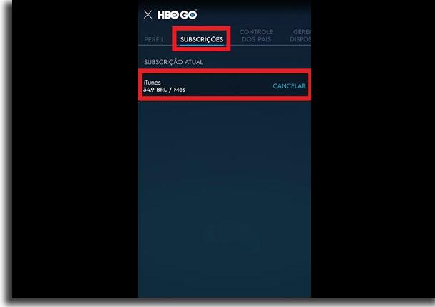 cancelar assinatura da HBO Go subscrição