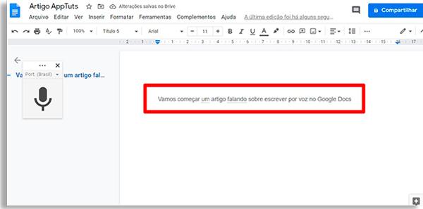 tela do google docs com uma frase escrita e uma caixa de borda vermelha ao redor destacando o trecho