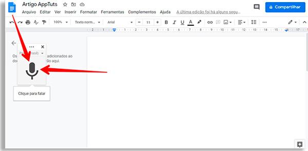tela do google docs com pequeno botão em froam de microfone, com seta vermelha apontando para ele