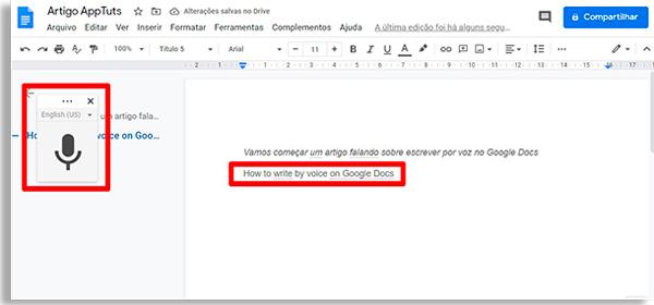 tela do google docs com destaque para texto feito ao escrever por voz em outro idioma