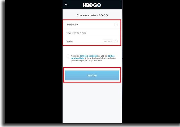 criar conta na HBO Go dados