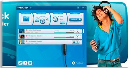 pantalla del byclick downloader para descargar videos