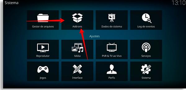 tela de configuração do kodi, escolha o botão addons