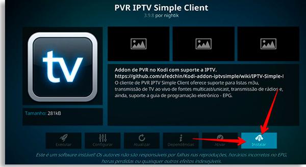 escolha o botão instalar para permitir assistir iptv no smartphone pelo kodi