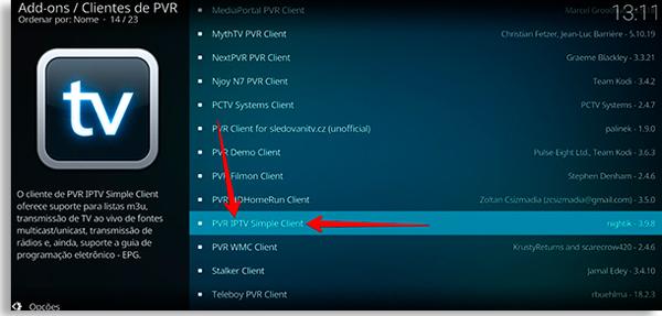 escolha o pvr iptv simple client no kodi de smartphone