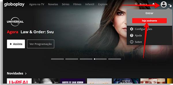 tela inicial do globo play, com menu de usuário no topo direito
