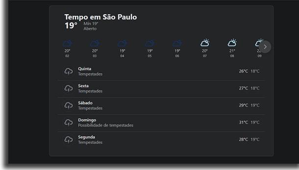 conferir o clima no facebook