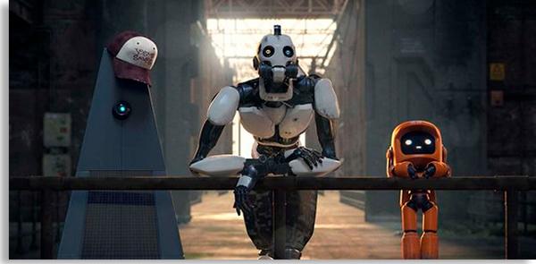 três robôs da animação amor, morte e robôs