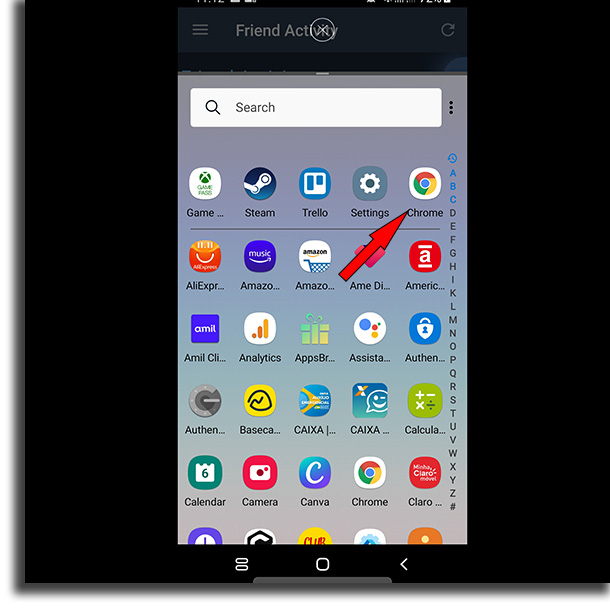 Select secondary app split-screen on Android