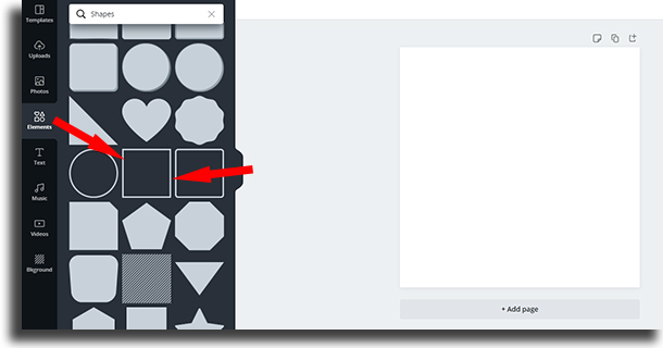 empty square shape how to use Canva