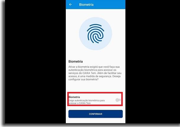 biometria no app da caixa