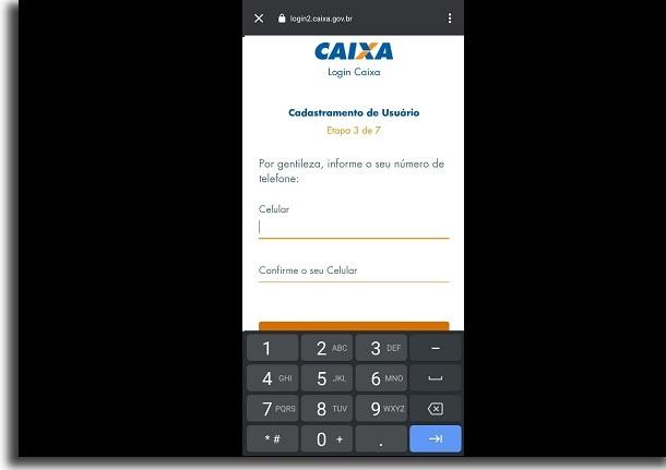 celular no app da caixa
