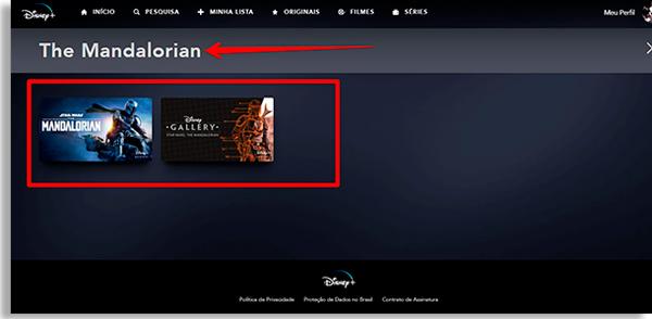 tela de busca com os dizeres The Mandalorian. Abaixo, os resultados da busca