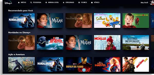tela inicial após fazer login no disney+, mostrando diversas categorias e suas respectivas obras
