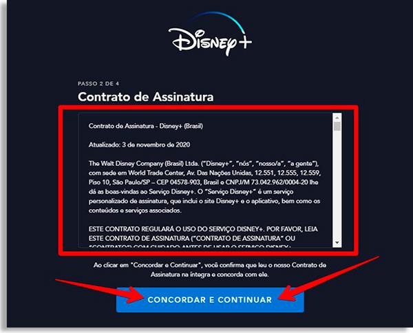 tela da disney+ com contrato de assinatura
