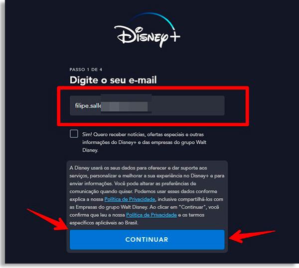 tela de cadastro do disney+, com caixa de texto para incluir email