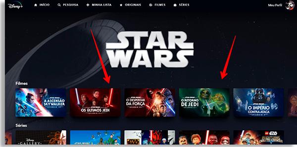 tela do disney+ dedicado as obras da franquia star wars