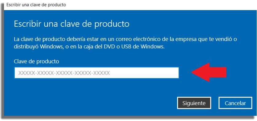 licencia Windows clave del producto