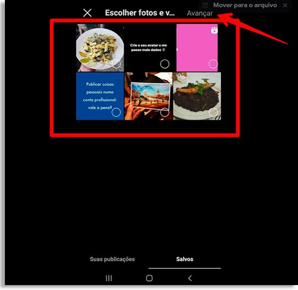 tela com posts salvos de um perfil do instagram, com uma caixa transparente de bordas vermelhas destacando-o. Uma seta vermelha também aponta para a palavra avançar, indicando que o usuário tem de escolher os posts e então prosseguir para criar guias no Instagram