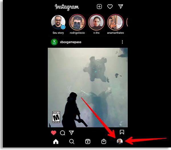 tela inicial do instagram