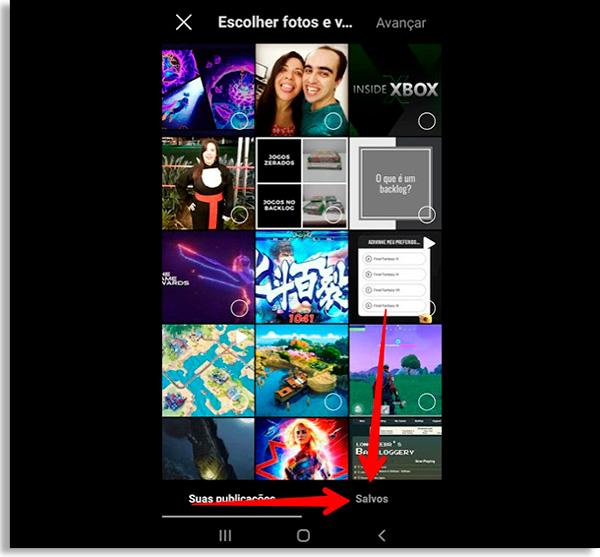 tela do instagram com diversos posts e um submenu na parte inferior com uma seta vermelha apontando para a opção Salvos