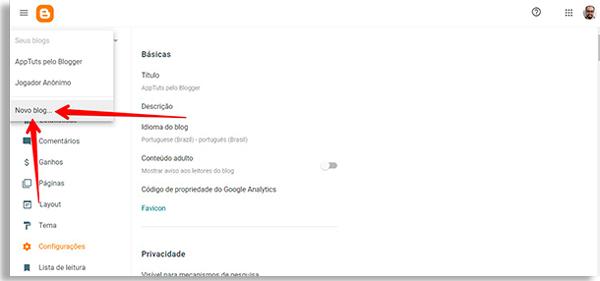 tela do blogger com setas apontando ao botão novo blog, permitindo criar site grátis no google