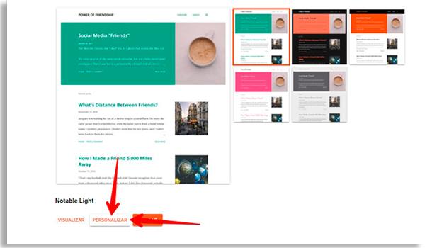 escolha um modelo de site gratis e clique em personalizar