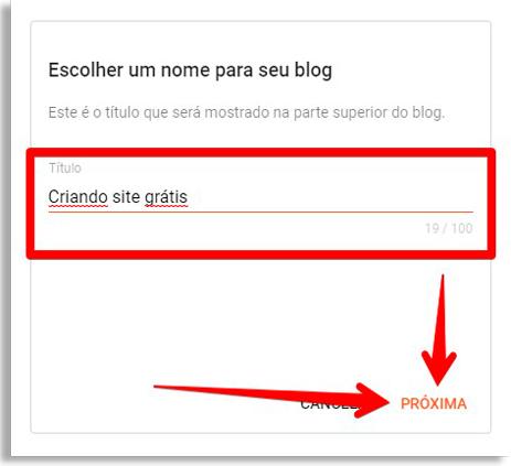 crie o nome do seu site grátis no google