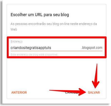 indique a url do seu site grátis no google