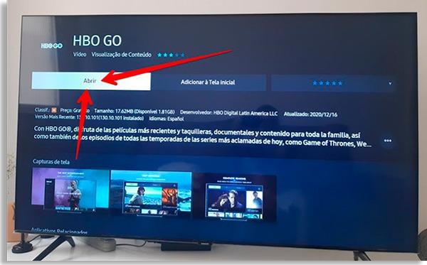 tela do aplicativo hbo go com setas vermelhas apontando para o botão Abrir