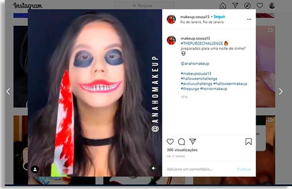 tela de post de uma influenciadora fazendo um instagram challenge
