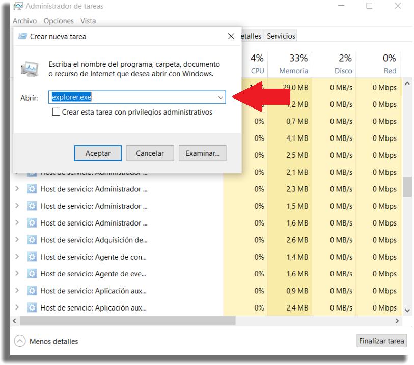 administrador de tarear windows explorer