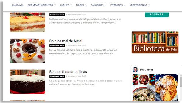 tela do site do edu guedes, mostrando algumas das melhores receitas de natal