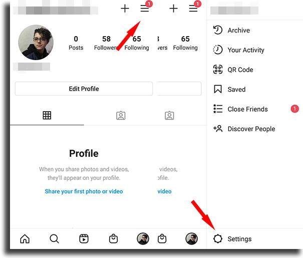 settings appear offline on Instagram