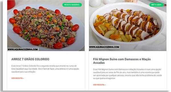 tela do site aqui na cozinha, mostrando duas receitas saudáveis para a sobremesa, uma do lado da outra