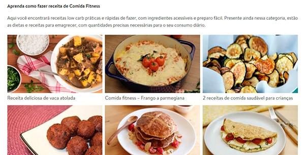 captura de tela do site de receitas saudáveis receita da hora, mostrando diversos pratos e sobremesas