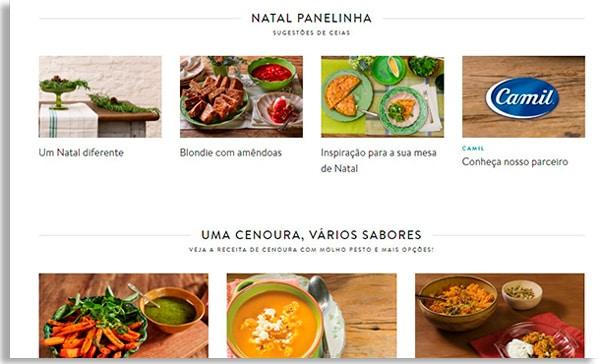 captura de tela da página inicial do site panelinha, mostrando duas filas horizontais com quatro receitas cada uma. Cada fila mostra uma categoria diferente de receita