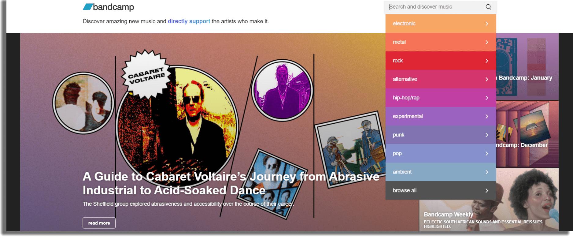 Bandcamp Sitios web para descargar música gratis