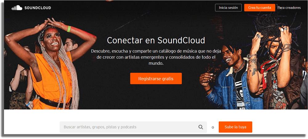 SoundCloud Sitios web para descargar música gratis