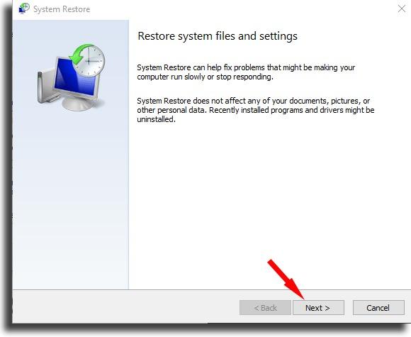 Start process System Restore on Windows 10