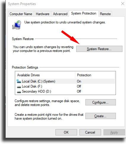 Click System Restore... System Restore on Windows 10