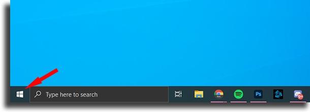Open start menu System Restore on Windows 10