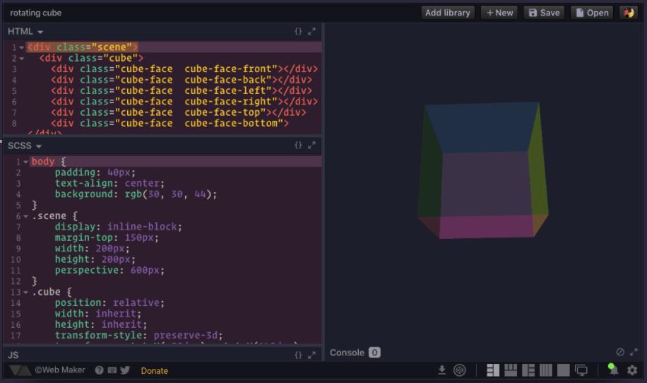 WebMaker's test code sample