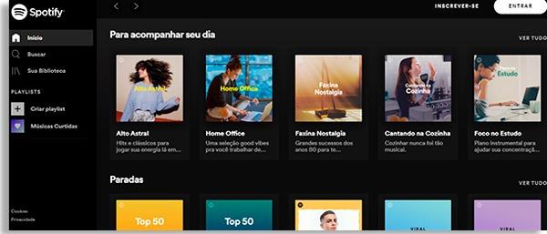 tela inicial do spotify, que também é um dos aplicativos de podcasts