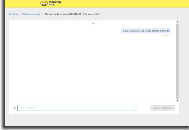 tela de chat com o vendedor