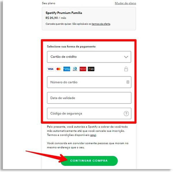tela do spotify onde dados de pagamento devem ser inseridos. Caixa de borda vermelha destacando os campos onde deve colocar seus dados