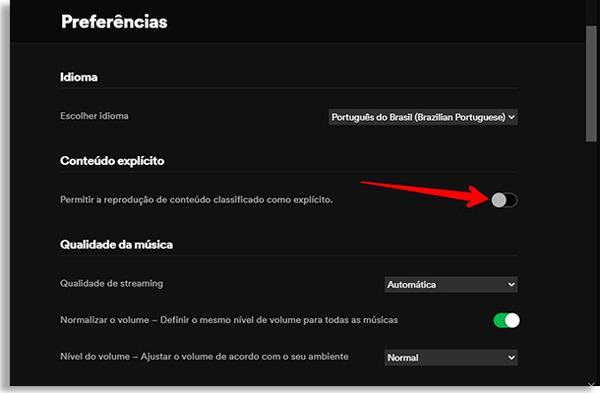 tela de preferências do spotify, com seta vermelha apontando onde fica o botão para desativar conteúdo explícito e fazer controle parental no spotify